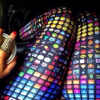 pants colorful leggings emoji print emoji print