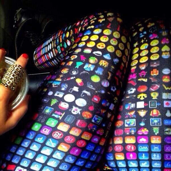 pants colorful leggings leggings emoji print emoji print emoji print
