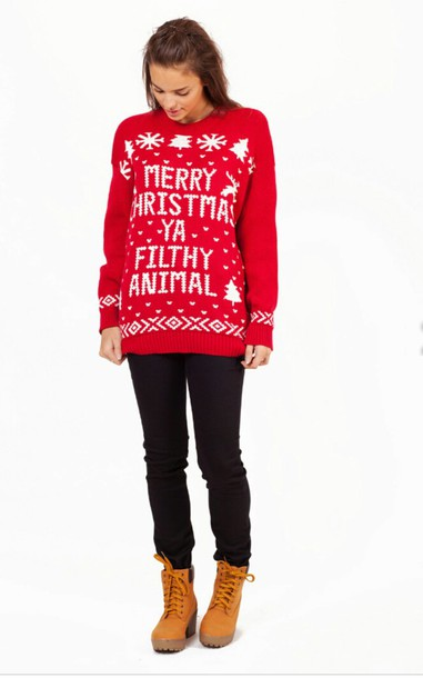 Sweater: merry, christmas sweater, christmas, boho, snow, tree ...