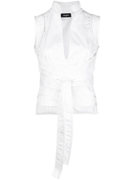 Dsquared2 - wrap top - women - Cotton/Spandex/Elastane - 42, White, Cotton/Spandex/Elastane