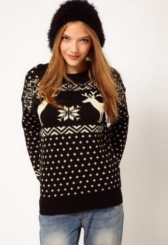 sweater reindeer christmas christmas sweater black winter sweater deer