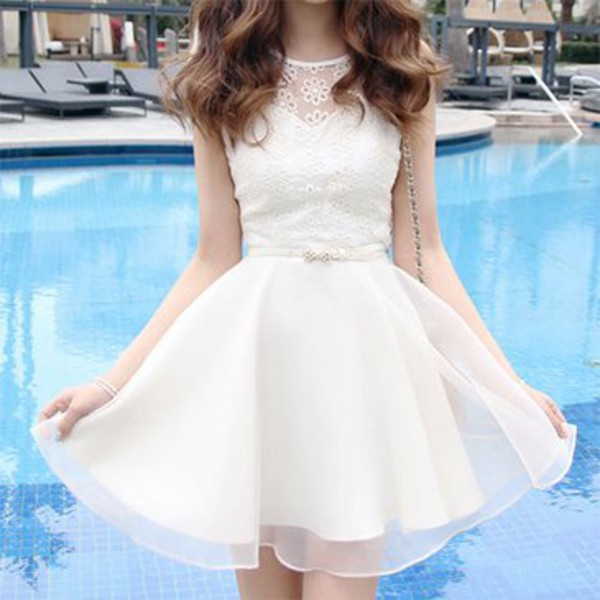 lace chiffon short sleeve dress