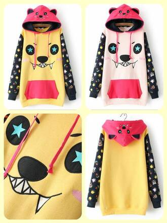 tank top monter hat fleece kawaii cute monster hoodie japanese fashion