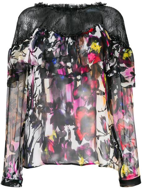 Blumarine blouse women floral print black silk top