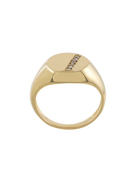 Gisele For Eshvi studded women ring gold yellow grey metallic jewels