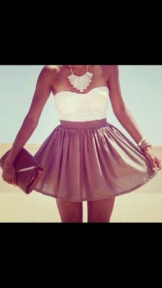 necklace skirt summer outfits crop tops high waisted skirt clutch tanned girl brown skirt