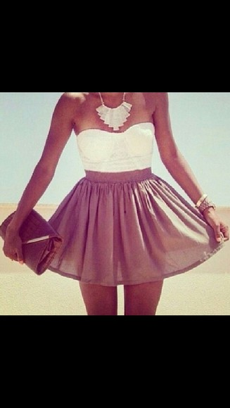 skirt brown skirt high waisted skirt crop tops summer outfits clutch necklace tanned girl