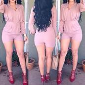 romper,sexy,short,long sleeves,cute,clubwear,party,jumpsuit,pink,clothes,wrap,one piece,long sleeve romper,cute rompers,style,rose wholesale,elegant,chic