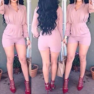 romper sexy short long sleeves cute clubwear party jumpsuit pink clothes wrap one piece long sleeve romper cute rompers style rose wholesale elegant chic