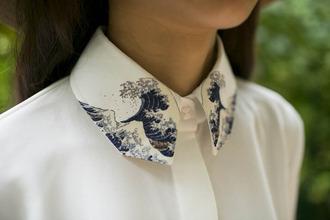 blouse high collar printed art chiffon button up shirt