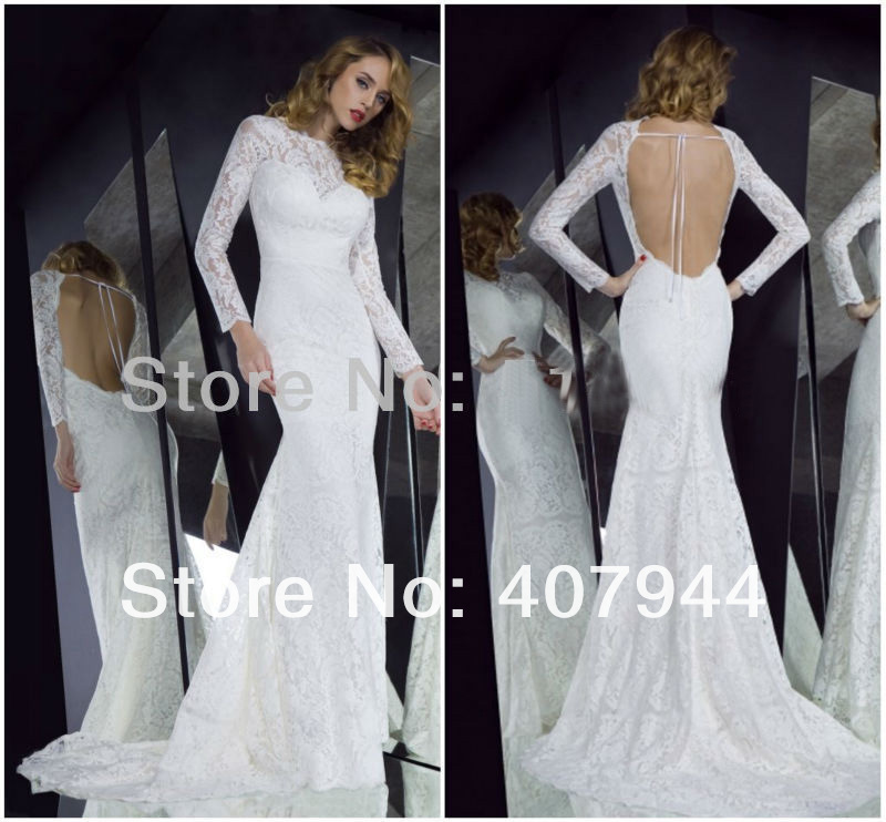 Free shipping 2013 new arrival white vintage lace long for Vintage lace wedding dress open back