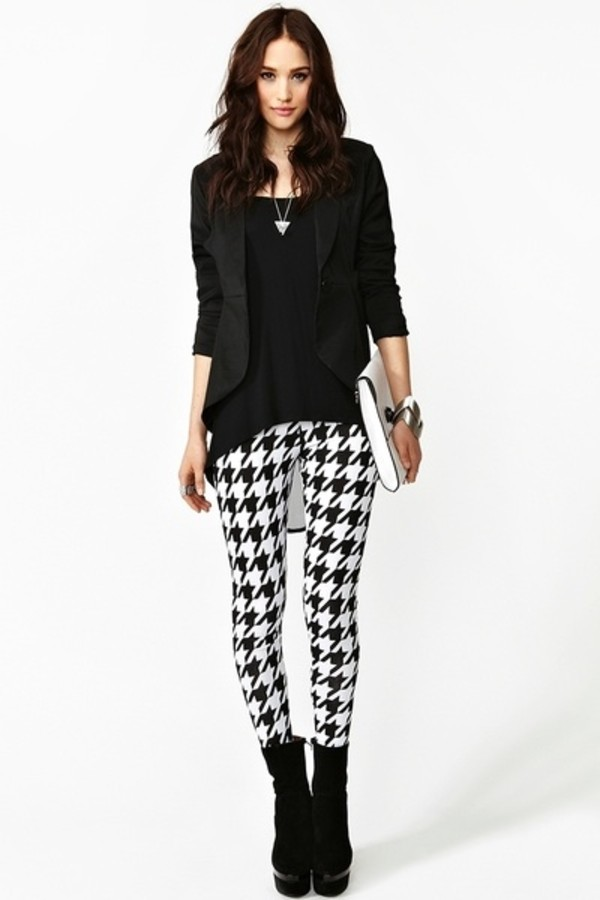pants leggings houndstooth black and white houndstooth