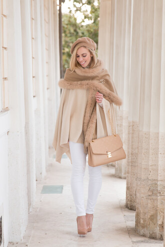 coat white and beige outfit white and beige beige coat scarf fur scarf pants winter outfits winter look white pants bag nude bag pumps pointed toe pumps high heel pumps hat feminine