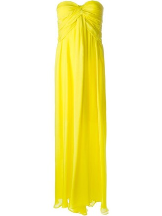 gown strapless yellow orange dress