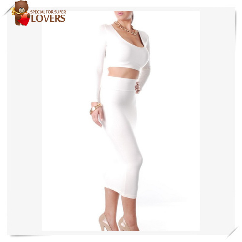 2014 Hot Selling Wholesale Exclusive Orange White Black Grey Red High Waisted Cropped Outfit Two Piece Bodycon Dress-in Dresses from Apparel & Accessories on Aliexpress.com