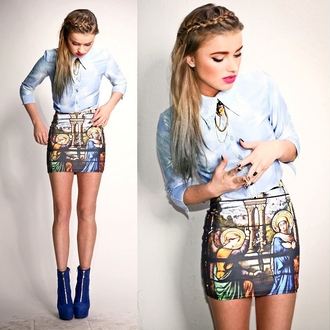 skirt art religion short beautiful religious mini skirt tube print chic jewels cathedral blackmilk