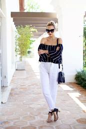 late afternoon,blogger,sunglasses,celine shoes,celine,off the shoulder top,stripes,peasant top