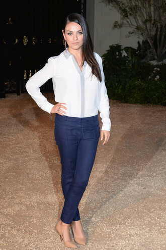 blouse shirt mila kunis pants pumps shoes