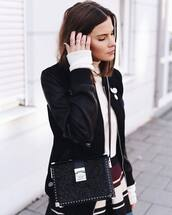 jacket,tumblr,black jacket,baseball jacket,black bomber jacket,bomber jacket,top,white top,turtleneck,white turtleneck top,skirt,stripes,striped skirt,bag,black bag,ring,silver ring,silver jewelry,jewels
