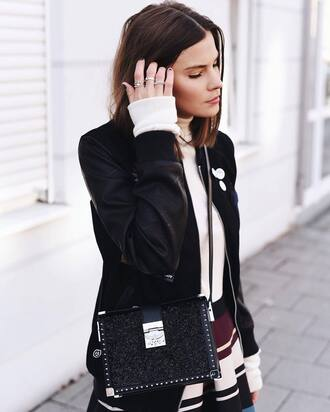 jacket tumblr black jacket baseball jacket black bomber jacket bomber jacket top white top turtleneck white turtleneck top skirt stripes striped skirt bag black bag ring silver ring silver jewelry jewels