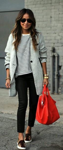 coat bag handbag grey coat orange jacket