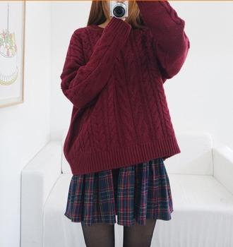 sweater red sweater winter sweater winter outfits plaid skirt skirt