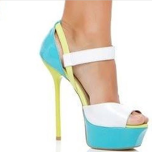 shoes sandals white teal
