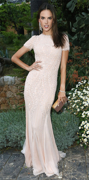 alessandra ambrosio white dress maxi dress jewels