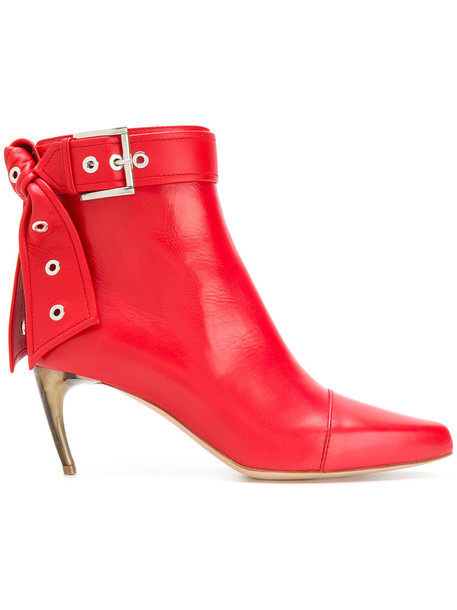 women ankle boots leather red shoes