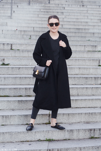 trini blogger sunglasses sweater jeans coat bag gucci gucci princetown shoulder bag black coat winter outfits