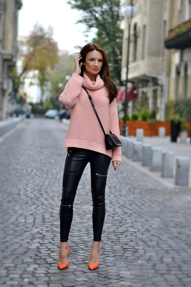 my silk fairytale blogger jeans pink turtleneck leather pants orange