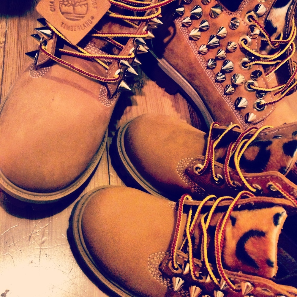 Customized Timberlands With Spikes Spiked Leopard Timberlands