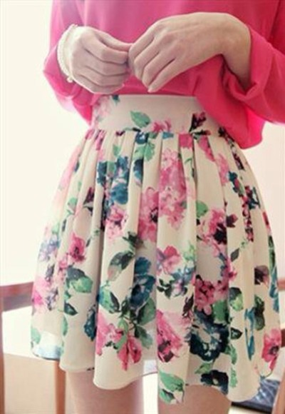 white beautiful skirt floral skater