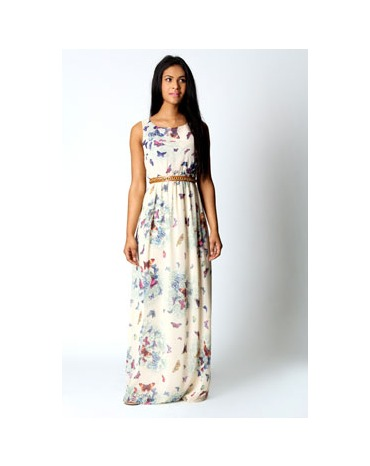 Buy Fionna Chiffon Butterfly Print Open Back Maxi Dress - £25.00 from Boohoo
