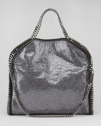 Stella McCartney Fold-Over Falabella Tote Bag, Pewter - Neiman Marcus
