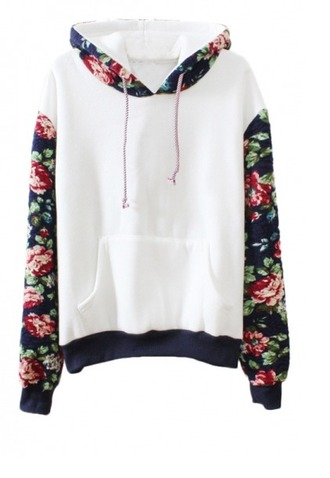sweater girl girly girly wishlist floral floral hoodie white cute