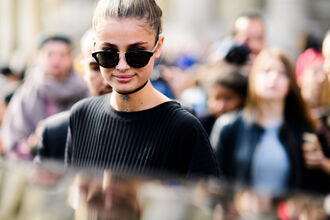 sunglasses fashion week street style fashion week 2016 fashion week paris fashion week 2016 choker necklace black choker necklace jewels accessories accessory taylor hill model streetstyle