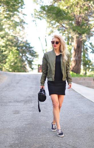 love maegan blogger jacket bag sunglasses bomber jacket army green jacket mini dress handbag sneakers spring outfits