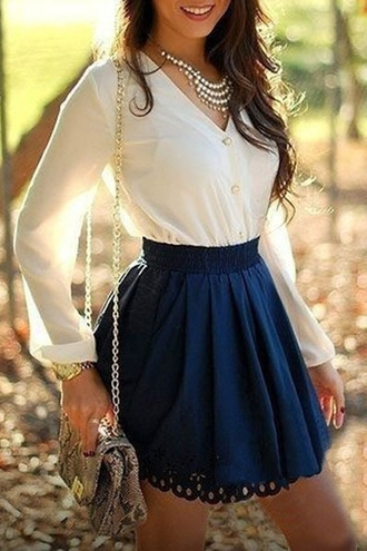 dress fall outfits classy white navy dressy casual pretty girly cute fashion style