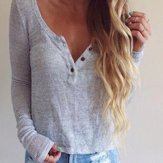 shirt long sleeve blue henley cute