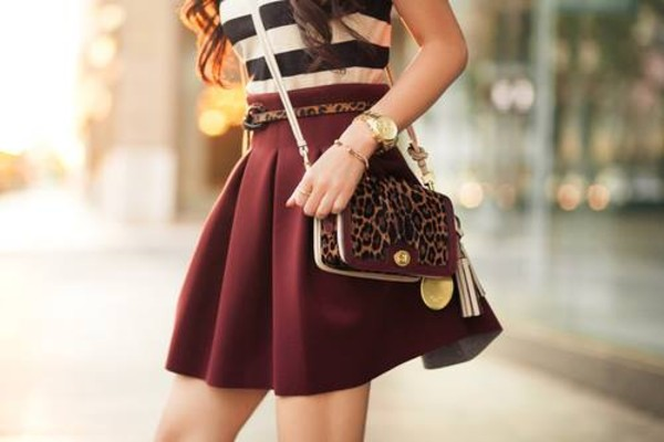 skirt fall skirt skater skirt burgundy