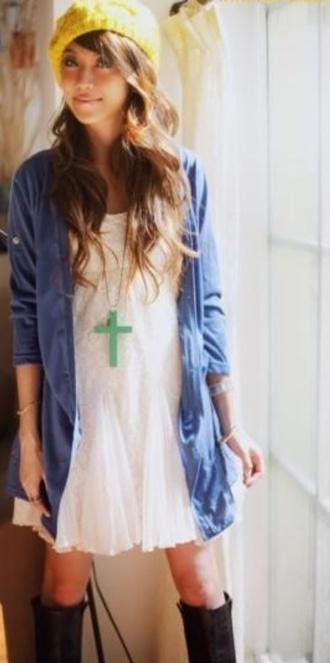 dress yellow yellow beanie white dress short dress blue cardigan cross cross necklace