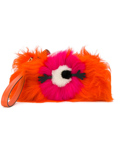 Anya Hindmarch fur women clutch yellow orange bag