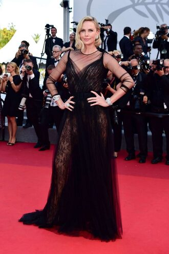 dress gown prom dress charlize theron cannes black dress red carpet dress