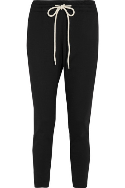 BASSIKE pants track pants cropped cotton black