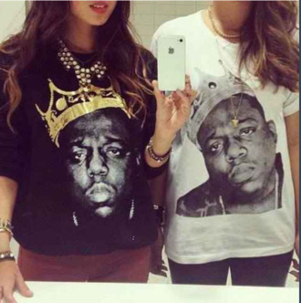 sweater shirt t-shirt biggie smalls sweater biggie smalls necklace bracelets jewelry black white leggings jeans