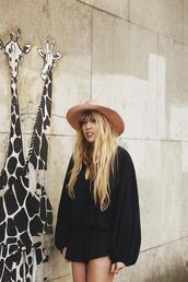 fringe and frange,blogger,romper,hat,bag,long sleeves,black dress,pink hat,black romper,summer outfits