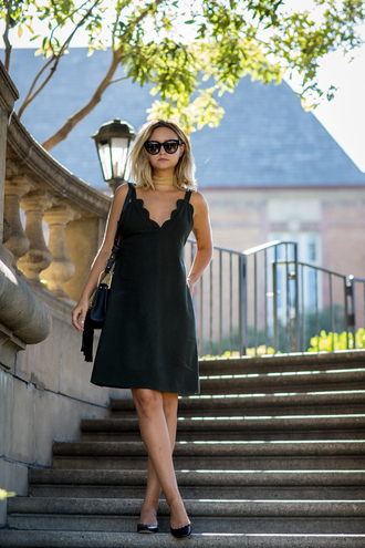 late afternoon blogger shoes dress bag sunglasses black dress mini dress shoulder bag black bag black heels