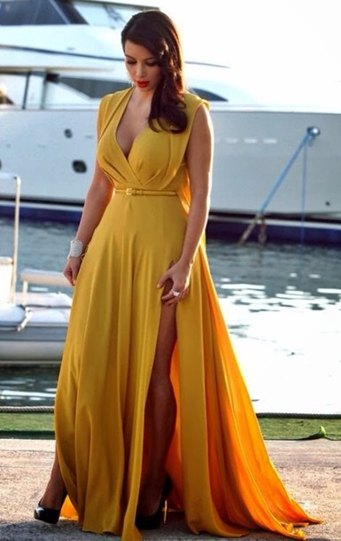 fb9afd84cc9 dress mustard belt yellow long double side splits plunge v neck capped  sleeves belted maxi yellow
