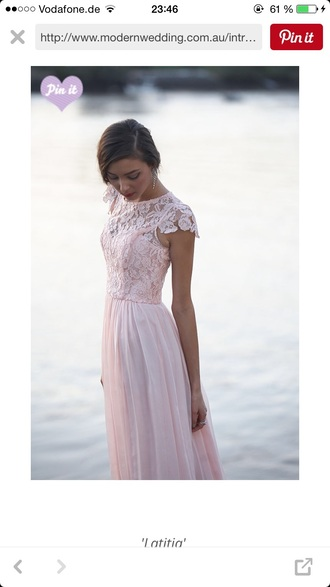 dress prom dress lace nude pink